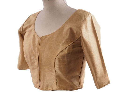 "Prachy Creations : Gold Dupion Silk Saree blouse - size 34""-52"" - S, M, L, XL, XXL, XXXL and XXXXL - Bollywood, 34"" / Gold"