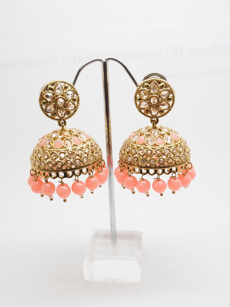 Reverse Stone Quality Antique Gold Finish Earrings - Bollywood - Fancy Dress - HB577 A0919