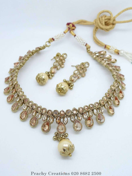 Prachy Creations : Antique finish choker set - HB 48 - KV 0316 Bollywood - weddings - parties, Beige