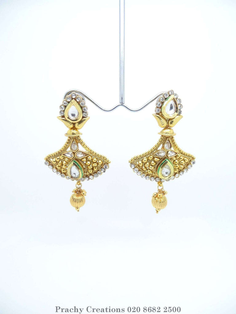 HIR 331 - Gold finish Indian earrings for weddings and bollywood parties T.P 0316 - Prachy Creations
