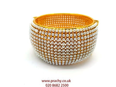 HR400 r - Hand made Openable Pearl Kada, Bridal, Weddings, Bollywood - Prachy Creations