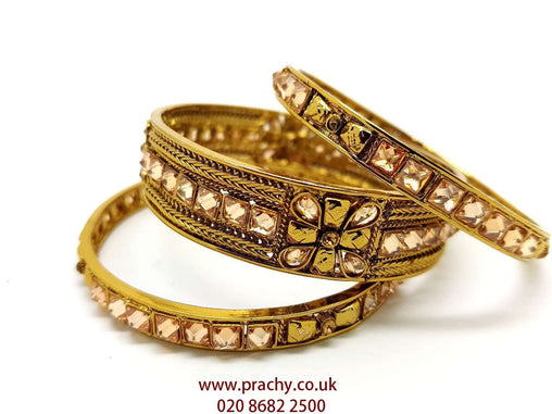 HR507 c - Set of 3 Hand made Reverse stone Kada and bangle, Weddings, Bollywood - Prachy Creations