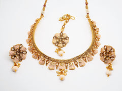 Meenakari Peach Choker necklace set - Bollywood - Weddings - HR818 C0919 - Prachy Creations