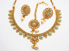 Meenakari Pista Green Choker necklace set - Bollywood - Weddings - HR819 C0919