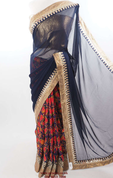 DF 06 09TY16 - Printed Half N Half saree with blouse piece, Free Petticoat, Bollywood