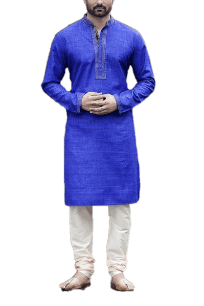 Mens Indian Kurta set in Blue , for weddings, Bollywood Party (with trousers) - RYKP9 KC0419 - Prachy Creations