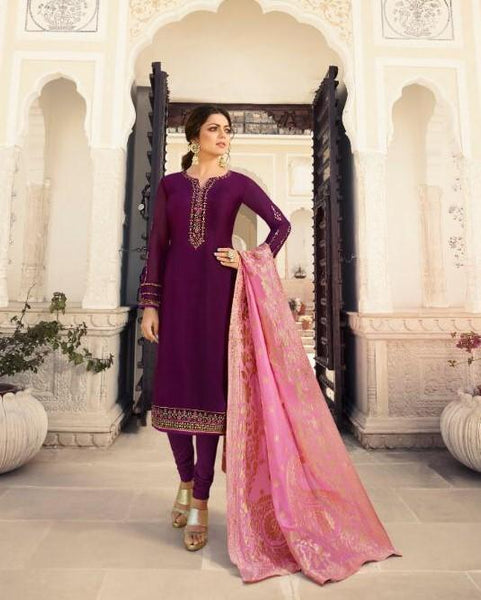Wine Purple - Simple / Classy Ladies Indian Churidar suit with Handloom Dupatta - NIT4009  TY0819