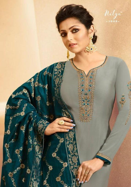 Grey - Simple / Classy Ladies Indian Churidar suit with Handloom Dupatta - NIT4008  TY0819