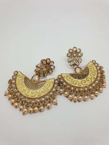 Prachy Creations : Meenakari Indian Jodhpur Earrings - Bollywood - Fancy Dress - VFJ05 Tp0918, Medium / Cream / Gold