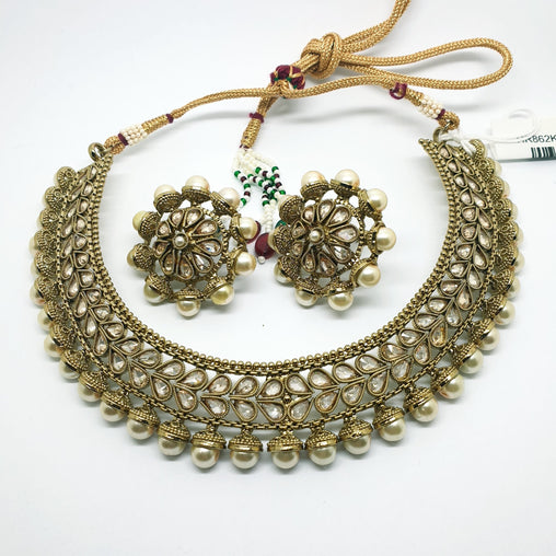 Ladies Choker with Earrings set - Bollywood - Weddings - HR862 KY1119 - Prachy Creations