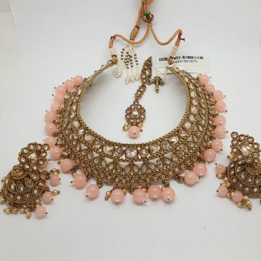Ladies Choker Necklace with Earrings set - Bollywood - Weddings - KAJ763 KJ1119 - Prachy Creations