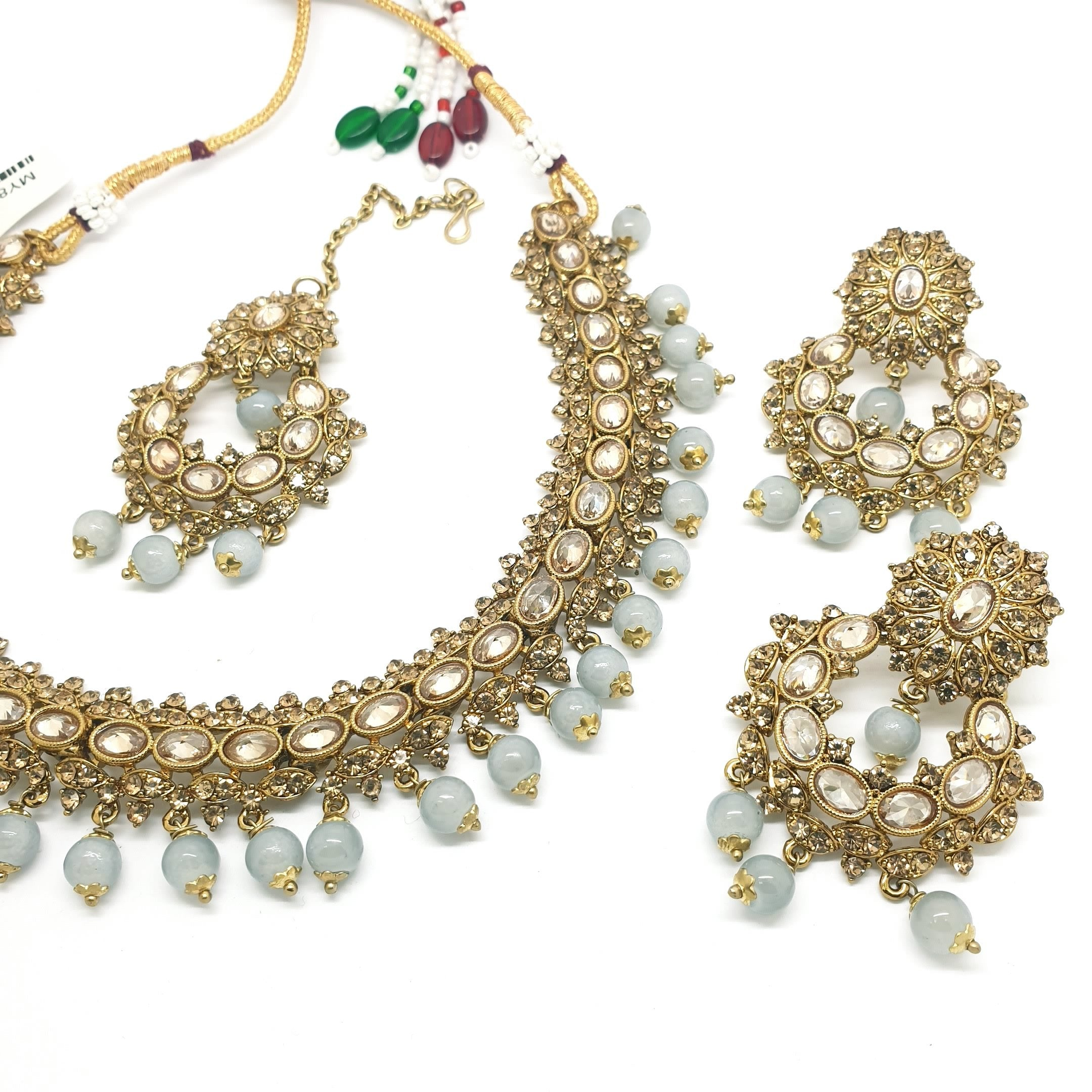Reverse Stone Indian Fashion Jewellery set - with necklace, earrings and Tika MY8826 KP0719