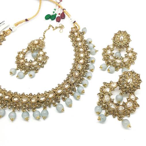Reverse Stone Indian Fashion Jewellery set - with necklace, earrings and Tika MY8826 KP0719 - Prachy Creations