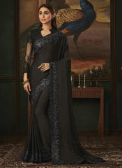 Black Designer Silky Saree with Fancy Ready made Blouse - ANM1810 TR1120 - Prachy Creations