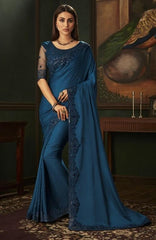 Blue Designer Silky Saree with Fancy Ready made Blouse - ANM1803 TC1120 - Prachy Creations