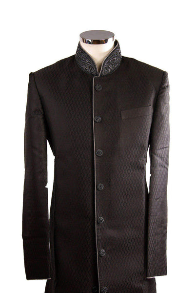 "Prachy Creations : Simple Black Sherwani SW101, 36"" / Black / Self Brocade"