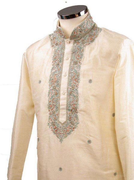 "Prachy Creations : Classy Raw silk kurta set with antique embroidery on the neck and sleeves - CK 1800, 34"" / Off White"