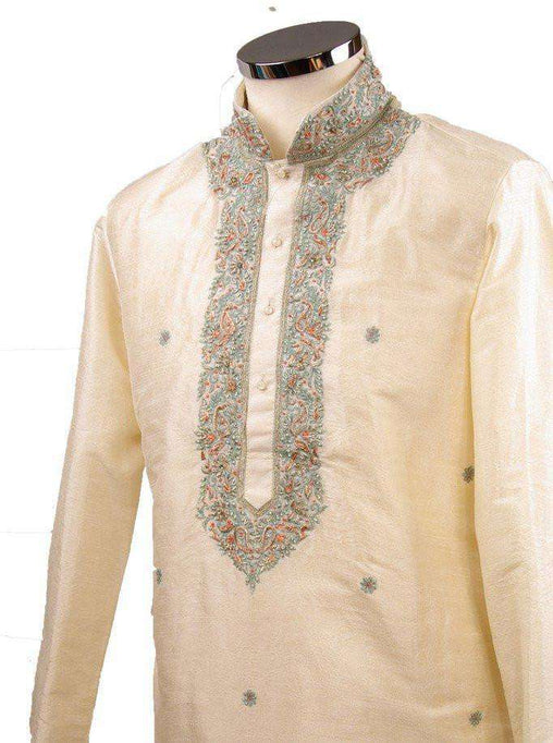 Classy Raw silk kurta set with antique embroidery on the neck and sleeves - CK 1800 - Prachy Creations