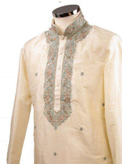 Prachy Creations : Classy Raw silk kurta set with antique embroidery on the neck and sleeves - CK 1800, 34