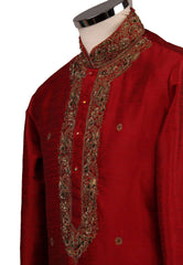 Prachy Creations : Classy Raw silk kurta set with antique embroidery on the neck and sleeves - CK 1800