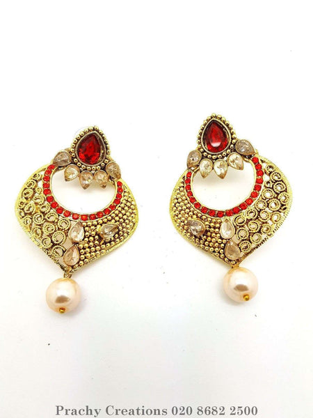 Prachy Creations : Antique finish earrings - ISH 2332 - v 0416, Medium / Red