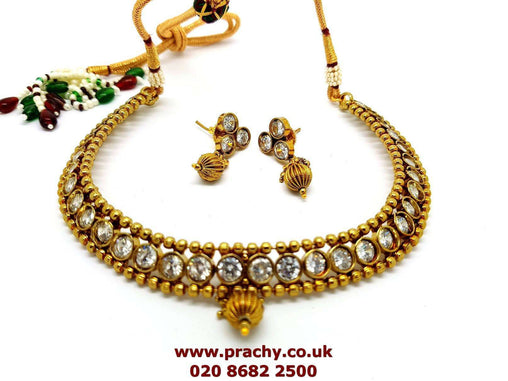 Prachy Creations : JA03 jp 0217 - Necklace and earrings Choker set , small, girls