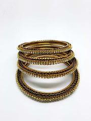 Set of Antique Finish Clear / White stone bangles (set of 4) - JAN1604KP-CLR - Prachy Creations