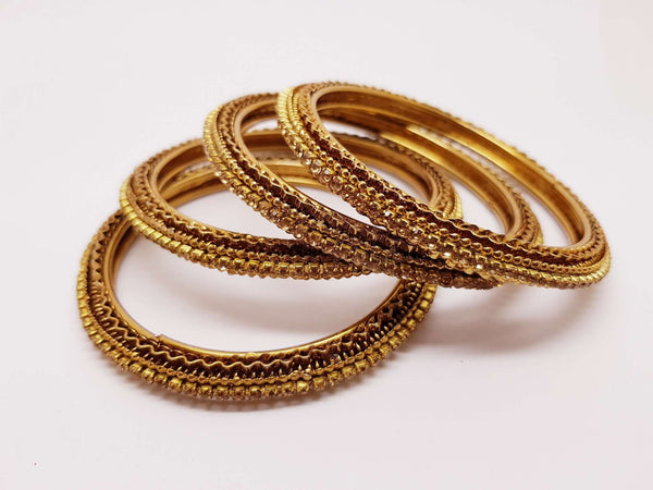 Set of Antique Finish LCT Gold stone bangles (set of 4) - JAN1604KP