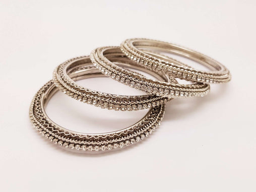 Set of Silver Finish Clear stone bangles (set of 4) - JAN1604KP-SIL-CLR - Prachy Creations