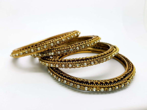 Set of Antique Finish LCT Gold / Clear stone bangles (set of 4) - JAN1604KP-LCTCLR