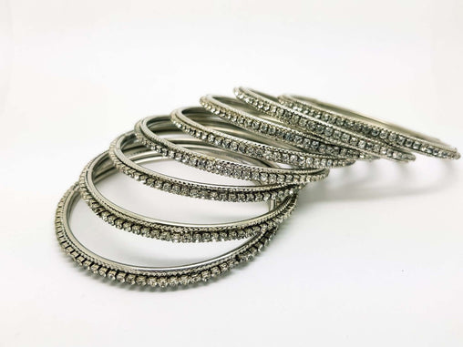 Set of Silver Finish Clear stone bangles (set of 8) - JAN1608KP-SIL-CLR