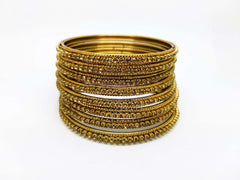 Prachy Creations : Set of Antique Finish LCT Gold stone bangles (set of 8) - JAN1608KP-LCT, 2.4 (Sm) / LCT Gold / Antique
