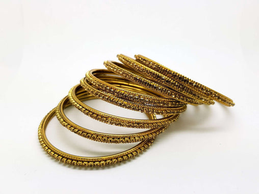 Set of Antique Finish LCT Gold stone bangles (set of 8) - JAN1608KP-LCT - Prachy Creations