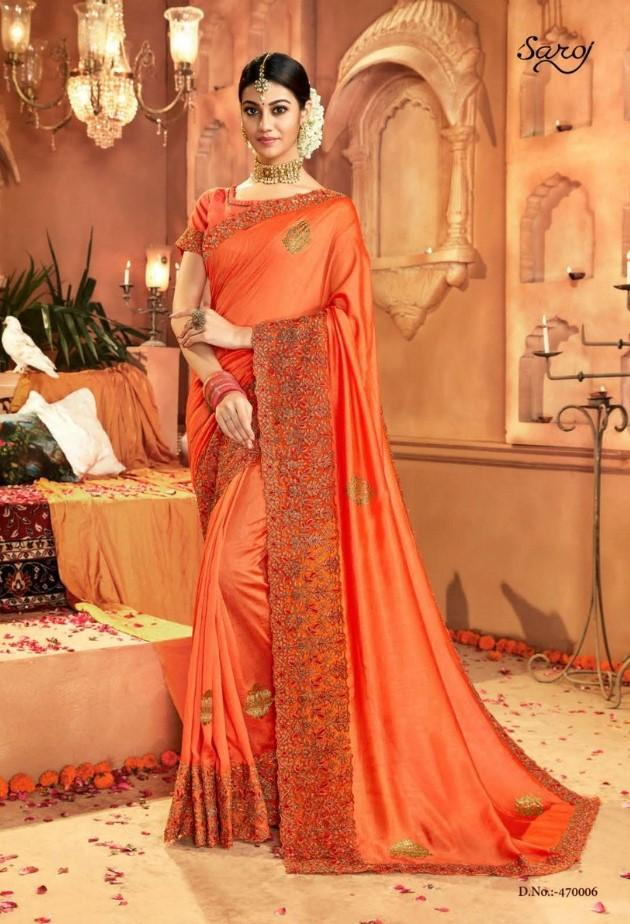 Designer Crepe Silky Saree with thread work border , Blouse piece - Orange - KM470006 VY1219