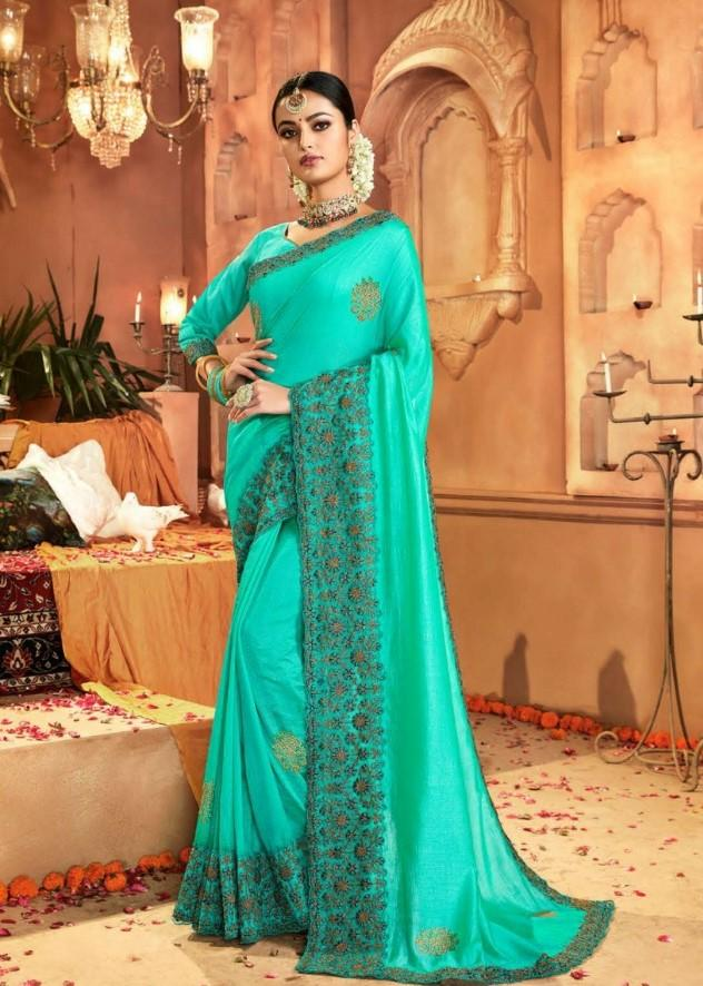 Designer Crepe Silky Saree with thread work border , Blouse piece - Turquoise - KM470004 VY1219