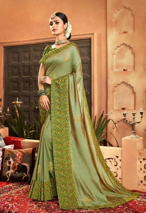 Designer Crepe Silky Saree with thread work border , Blouse piece - Green - KM470002 VY1219 - Prachy Creations