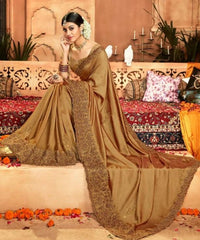 Designer Crepe Silky Saree with thread work border , Blouse piece - Gold - KM470005 VY1219 - Prachy Creations