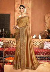 Designer Crepe Silky Saree with thread work border , Blouse piece - Gold - KM470005 VY1219