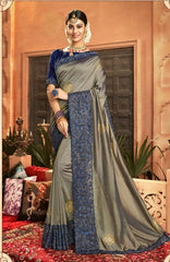 Designer Crepe Silky Saree with thread work border , Blouse piece - Grey - KM470007 VY1219 - Prachy Creations