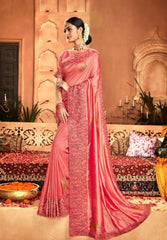 Designer Crepe Silky Saree with thread work border , Blouse piece - Pink - KM470008 VY1219