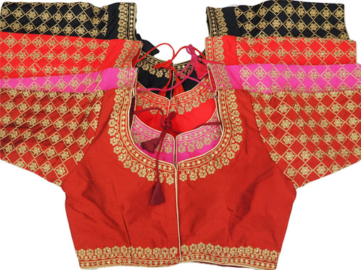 "Silky Embroidered  Long Sleeve Saree Blouse - Size 36"" Bust (UK 10) Expandable to 42"" Bust (UK 14) JRT101Pp"