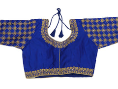 Silky Embroidered  Long Sleeve Saree Blouse - Size 36