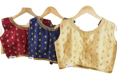 Dupion Silk Embroidered Sleevless Saree Blouse - Size 36