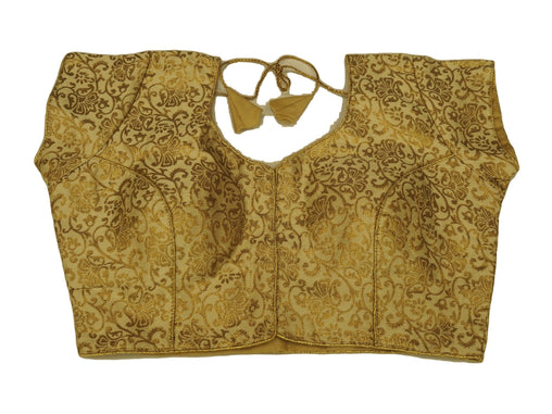 "Gold Brocade Ladies Saree Blouse - Size 36"" Bust (UK 10) Expandable to 40"" Bust (UK 14) JRT103T"