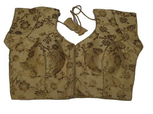 "Gold Brocade Ladies Saree Blouse - Size 36"" Bust (UK 10) Expandable to 40"" Bust (UK 14) JRT105T"