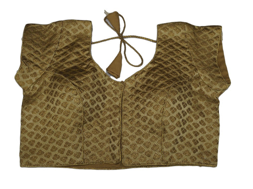 "Gold Brocade Ladies Saree Blouse - Size 36"" Bust (UK 10) Expandable to 40"" Bust (UK 14) JRT107T"