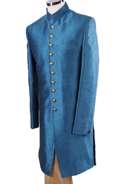 "Prachy Creations : Mens Turquoise Blue Sherwani set - With Gold Churidar Trousers - Bollywood Party Weddings - JRT1901 TC0419, 38"" / Turquoise / Raw Silk"
