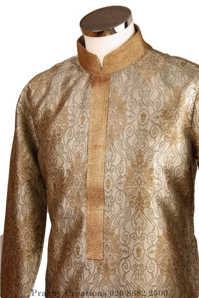 Prachy Creations : Rich brocade kurta with gold collar - Jahan VY 0316