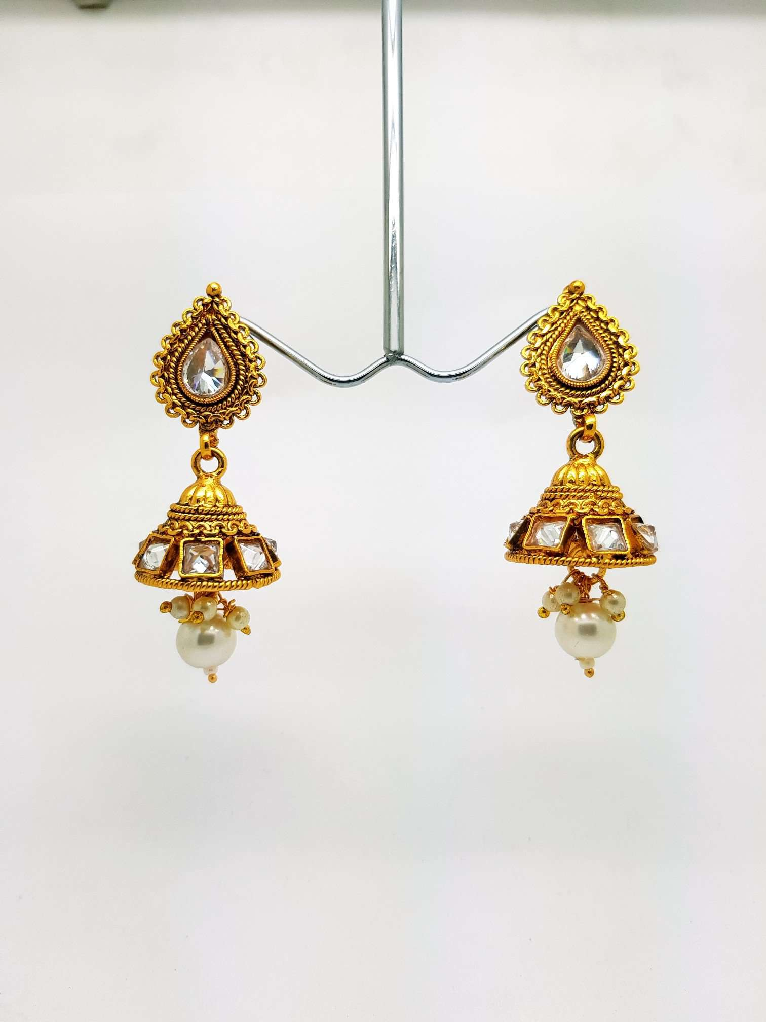Small Jhumki Earrings - Bollywood - Fancy Dress - KAJ576VP 0918 - Prachy Creations