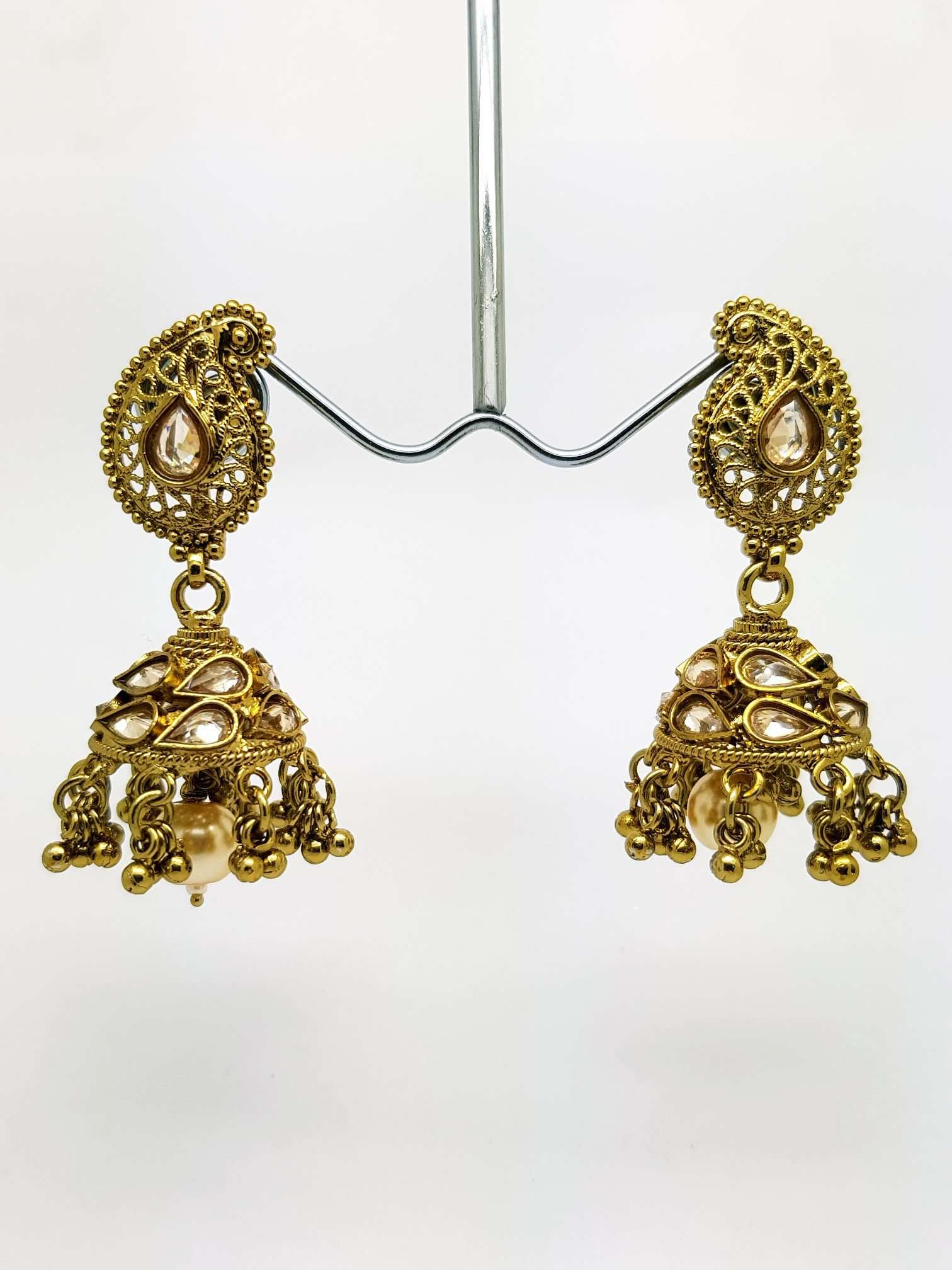 Reverse Stone Medium Jhumki Earrings - Bollywood - Fancy Dress - KAJ578TP 0918 - Prachy Creations